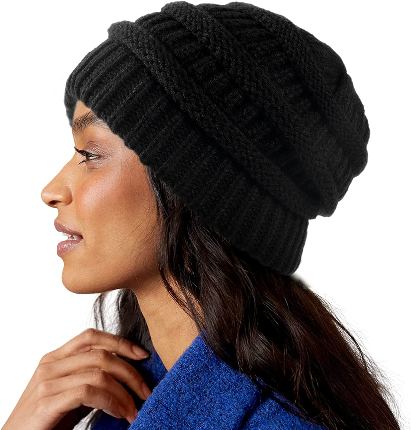 Womens Satin Omaha Mall Lined Winter Bombing new work Hats Silk Cable Beanie Thic Knit