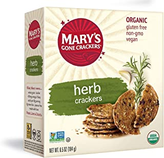 Mary's Gone Crackers Herb Crackers, Organic Brown Rice, Flax & Sesame Seeds, Gluten Free, 6.5 Oz (Pack of 6)