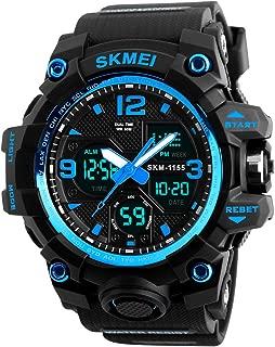 Men's Analog Digital 50M Waterproof Sports Watch Military Multifunction Dual Time Stopwatch Alarm Backlight Blue Watch
