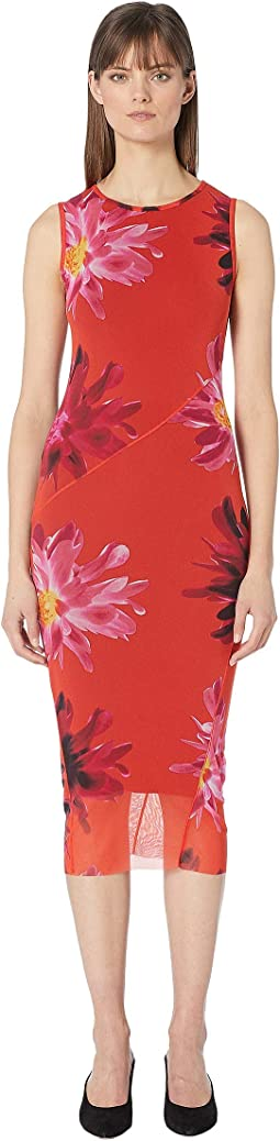 Red Fractured Flower Fitted Dress