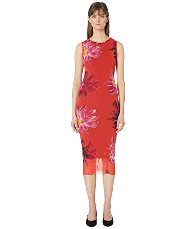 FUZZI Red Fractured Flower Fitted Dress (Pompei) Women