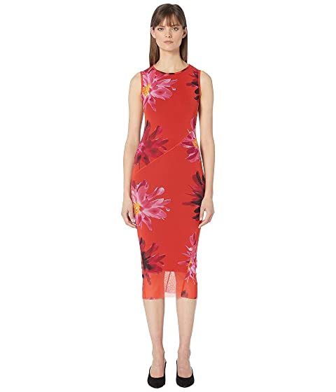FUZZI Red Fractured Flower Fitted Dress
