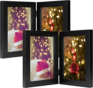 Golden State Art, Set of 2 Decorative Hinged Table Desk Top Picture Photo Frame, 2 Vertical Openings, 5x7 inches with Real Glass (5x7 Double, Black, 2)