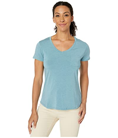 Prana Foundation Short Sleeve V-Neck Top (Vintage Blue Heather) Women