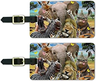 Africa Animals Selfie Giraffe Elephant Luggage ID Tags Cards Set of 2