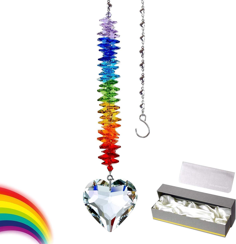 Crystal Suncatcher Clear Lowest price National uniform free shipping challenge Heart Rainbow Window Maker Decor GOLDEN