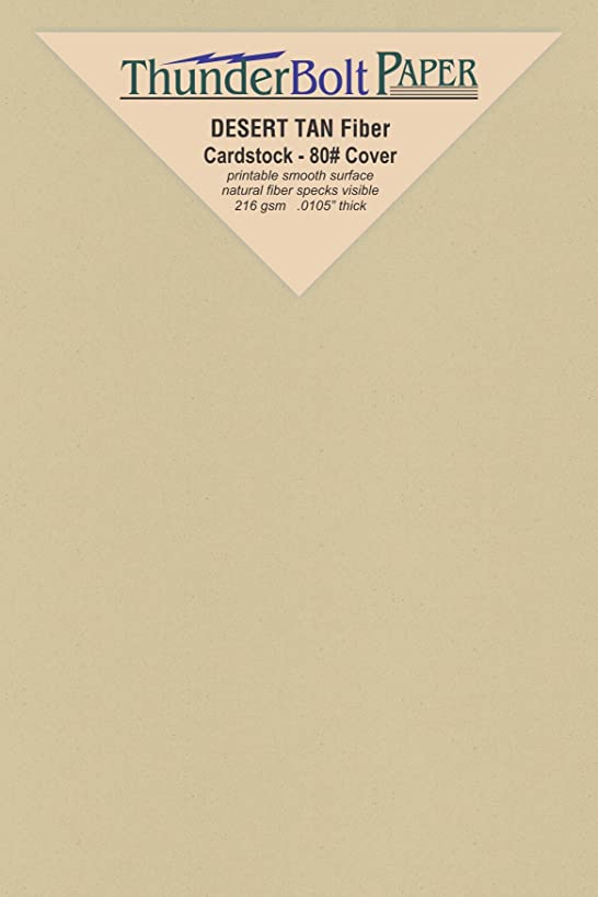 100 Desert Tan Fiber Finish Cardstock Paper Sheets - 3 X 5 inches Index|Recipe Card|Photo|Frame Size – 80 lb/Pound Cover|Card Weight 216 GSM - Natural Fiber with Darker Specks - Slightly Rough Finish