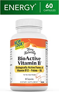 Terry Naturally BioActive Vitamin B - 60 Vegan Capsules - Vitamins B-12, B-6 & Folate, Supports Brain & Nervous System Function, Promotes Heart Health - Non-GMO, Gluten-Free - 60 Servings