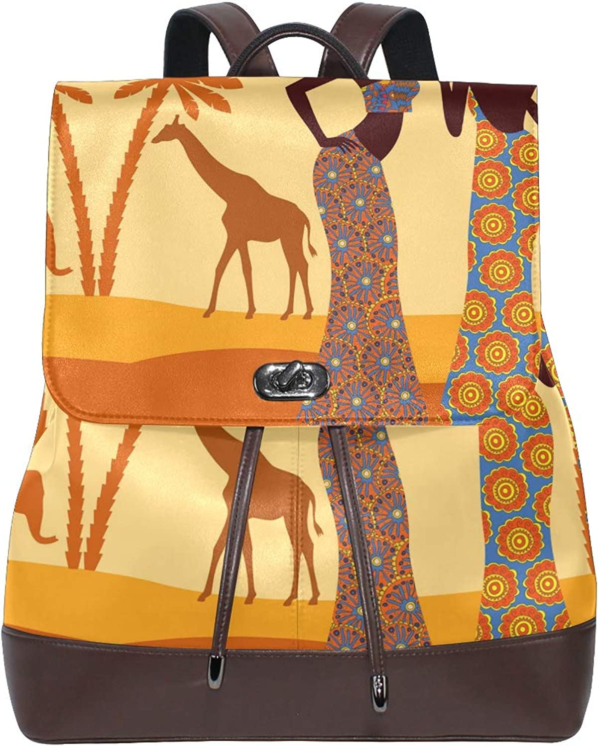 DEZIRO Leather African Women Tropical Giraffe Elephant School Pack Backpacks Travel Bag