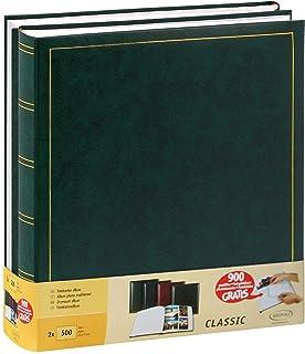 Lot de 2 albums photo traditionnels Jumbo 100 pages pour 500 photos 10x15 cm Vert