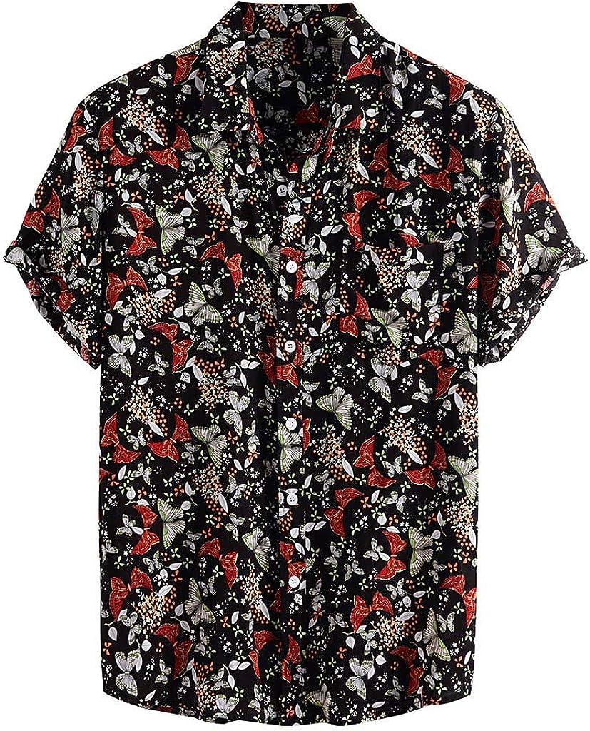 FONMA Summer Shirts for Men Turn Down Collar Short Sleeve Casual Printed Shirts