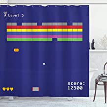 Video Games Shower Curtain Set Vintage Decor by Ambesonne, Playful Arcade Design with Colorful Square Shapes Blocks Super Funny Score Level Modern Graphic, Fabric Bathroom Decor with Hooks, Indigo