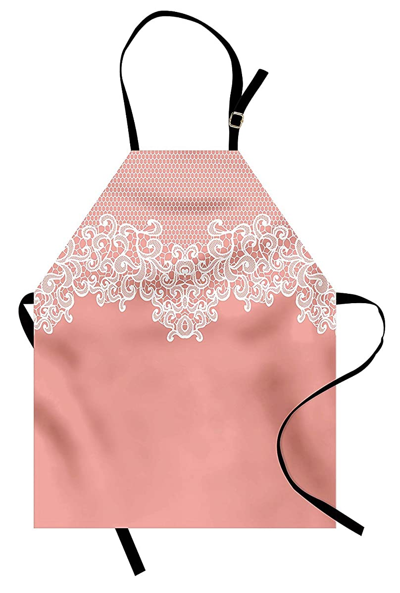PMNADOU Peach Apron, Abstract Lace Design Wedding Engagement Inspiration Floral Arrangement Pale Backdrop, Unisex Kitchen Bib Apron with Adjustable Neck for Cooking Baking Gardening, Coral White