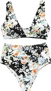 CUPSHE Women's High Waisted Push Up Bikini Set Mist and Noct Print Swimwear