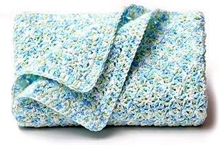 Blue, Green and White Crochet Baby Blanket