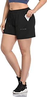 Women's Plus Size Fitness Running Sports Shorts Gym Athletic Shorts Drawstring Waist with Side Pockets