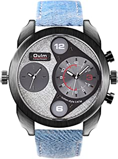 OULM Men's Sport Casual Quartz Wrist Watch Denim Strap Oversize Round Dial Dual Time Zone Sub Dial