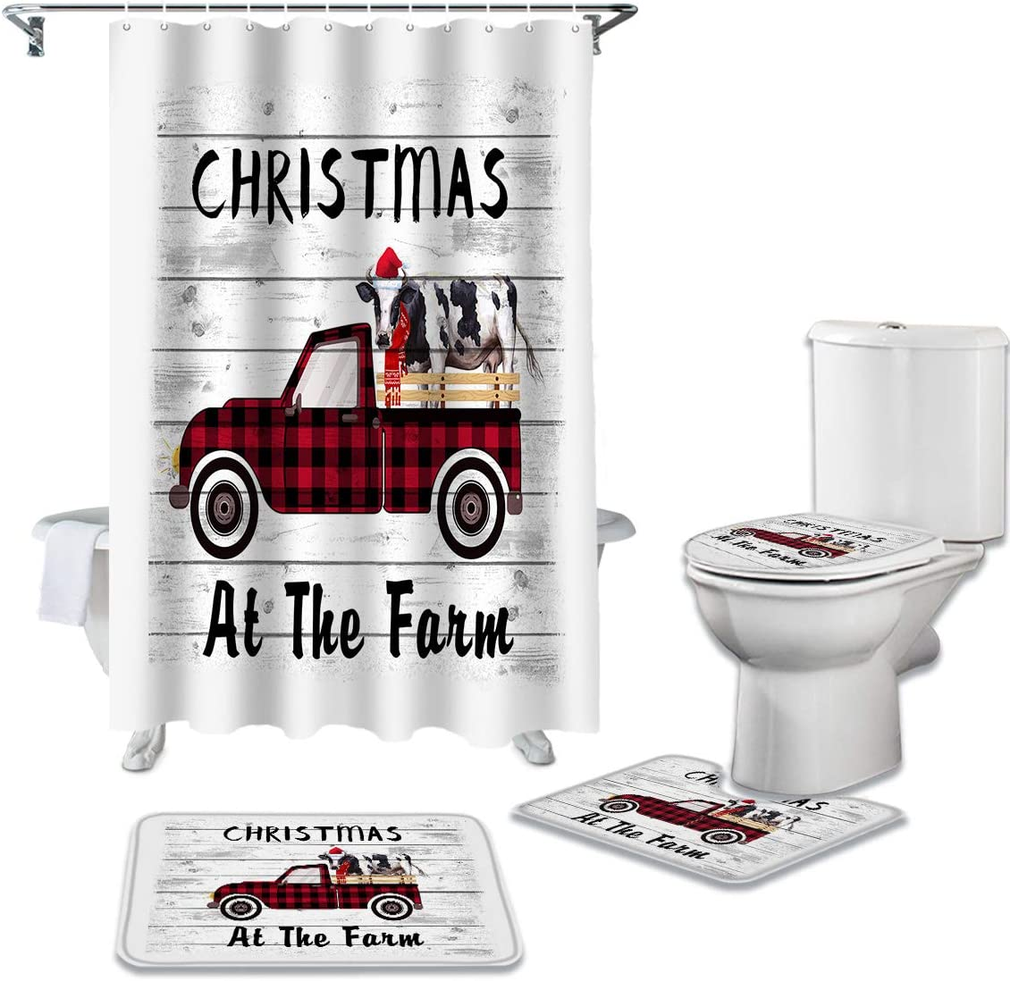 100% latest quality warranty WARM TOUR Christmas Theme Wood Grain 4 Pieces Curtain Set Shower