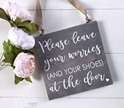 GMK Please Leave Your Worries and Your Shoes at The Door Wood Sign Remove Your Shoes Plaque No Shoes Sign