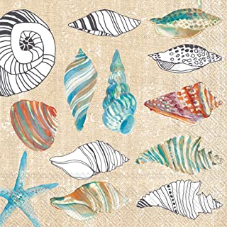 Water based ink Seashell Conch Shell Sea Shell Beverage Napkins Ocean Beverage Napkins 5 Clam Oyster Shell Set of 16 Recycled Paper
