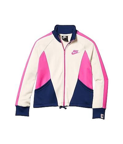 Nike Kids NSW Heritage Full Zip (Little Kids/Big Kids) (Light Orewood Brown/Blue Void/Fire Pink) Girl
