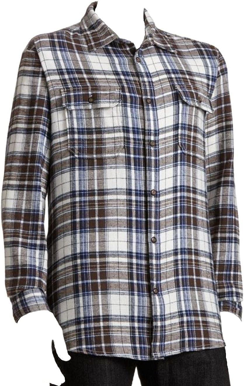 Sonoma Mens Plaid Flannel Shirt Size 4XB Navy Brown Western