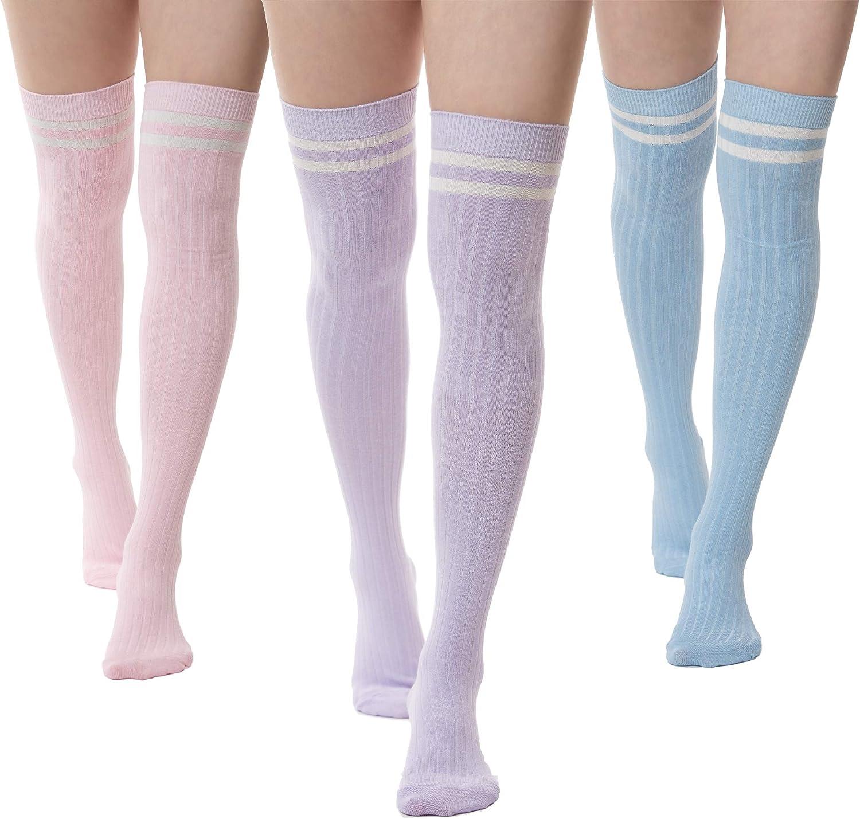 SERICI Thigh Length Socks   Womens Striped Cotton Thigh High Tube Sock   Over Knee Boot Socks