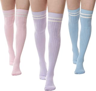 Best pink striped thigh high socks Reviews