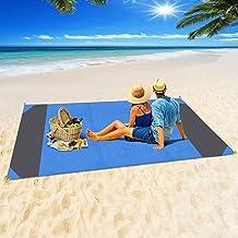 Jodsen Stranddeken, extra grote 200 * 210 cm/78,7 * 82,5 inch draagbare picknick strandmat met 4 pack vast genageld, draag...