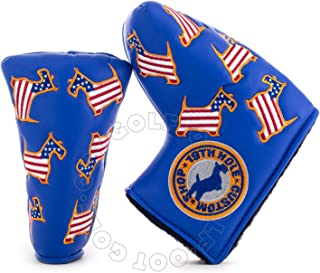 19th Hole Custom Shop US Flag Dancing Scottie Dog Headcover for Midsize Mallet Putter, Blue, Golf Head Cover