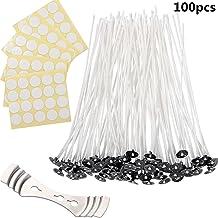 Kit de Fabricación de Velas con 100 piezas 6 pulgadas Naturales Mechas de Velas 1 Sostenedor de la Mecha y Etiquetas Engomadas de la Mecha de los Puntos de Doble Cara para Fabricación de Velas
