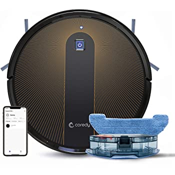 Coredy R750 Robot Aspirador y Fregasuelos 3 en 1, con conexión Wi-Fi, Alexa y Google Home, Potente aspiración de 1600Pa, Ultrafino, silencioso, Barre, aspira y friega para Suelos Duros y Alfombras: Amazon.es: