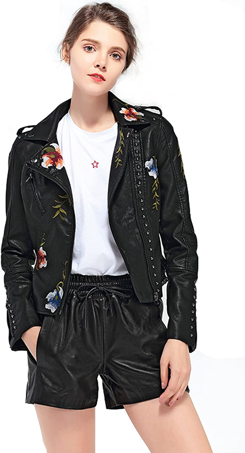 LY VAREY LIN Women's Floral Embroidered Faux Leather Moto PU Jacket Coat