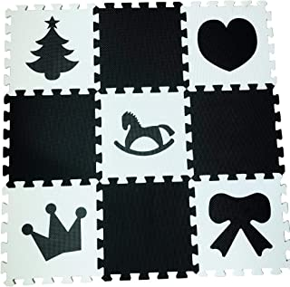 Baby Play Mat, Kid's Puzzle Exercise Play Mat – Soft EVA Foam Interlocking Floor Tiles, Protective Flooring, 10 Piece,Hearts and Tree,Black/White