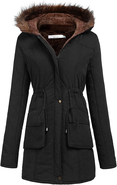 Meaneor Womens Hooded Warm Winter Thicken Fleece Lined Parkas Long Coats