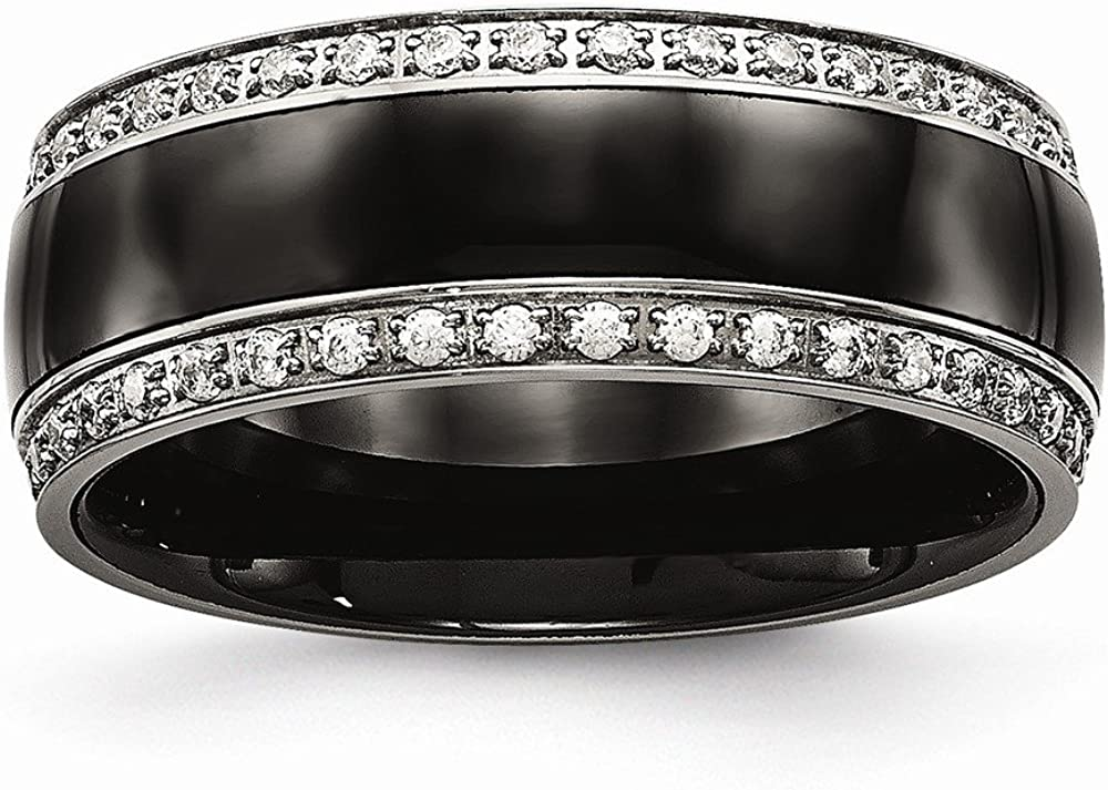 Solid Stainless Steel Men's Black Ceramic CZ Cubic Zirconia Wedding Band Ring