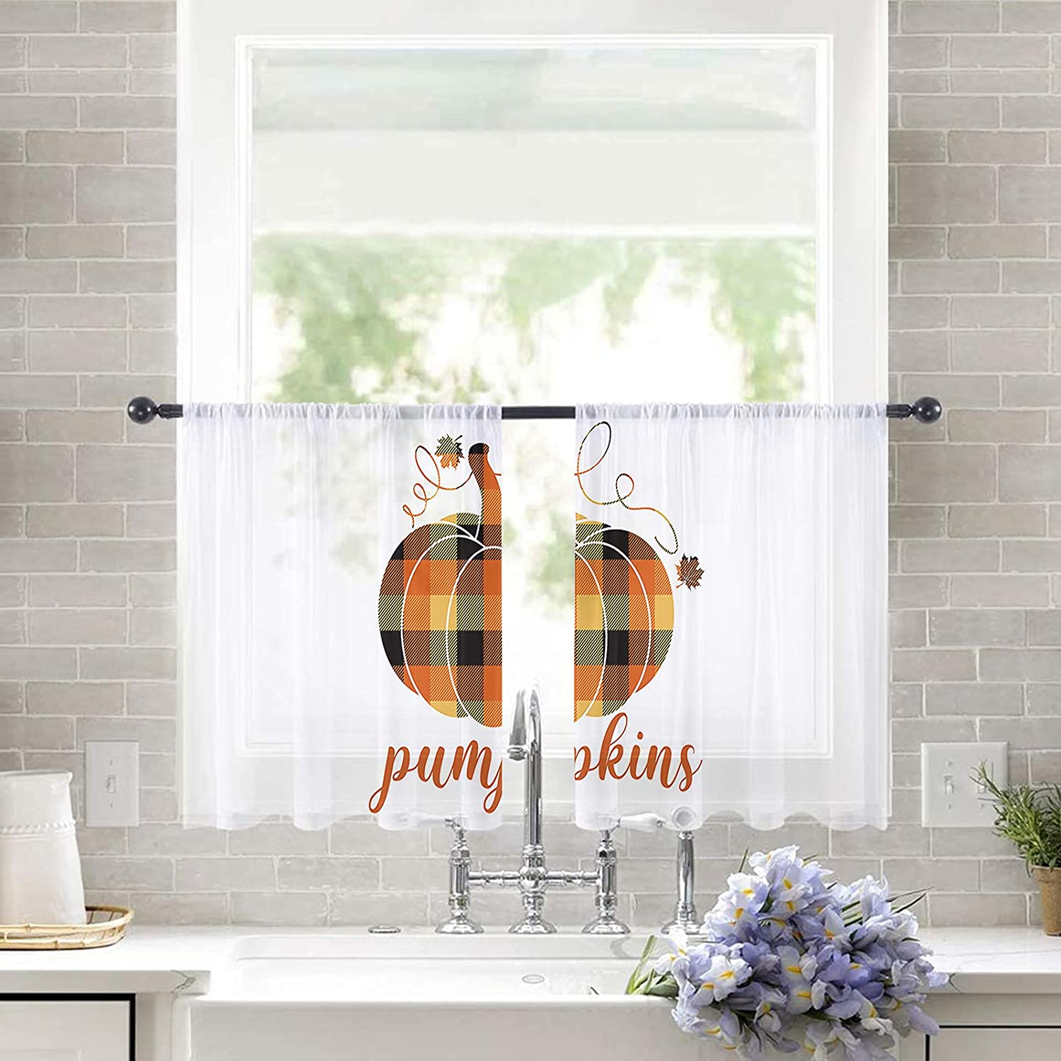2pc Set Sheer Curtains Ranking TOP16 Ranking TOP2 for Bedroom Fall Windows Pocke Theme Rod