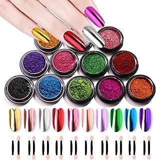 10 Jars Nail Mirror Powder Nail Art Powder Metallic Chrome Powder 10 Colors Manicure Pigment(1g/Jar) with 20 Pcs Eyeshadow Sticks