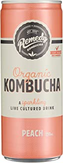 Remedy Organic Kombucha Peach Cans Multipack, 250 ml (Pack of 24)