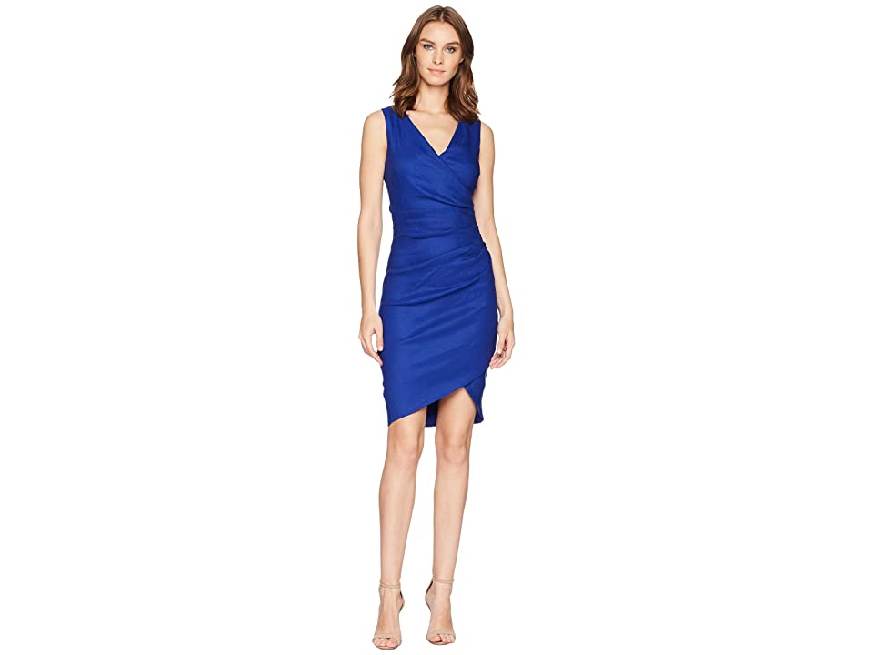 Nicole Miller Stretch Linen Stefanie Dress (Blue) Women