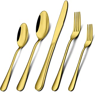 Umite Chef Silverware Flatware Set, 40 Piece Gold Stainless Steel Cutlery Set for 8, Mirror Finish, Tableware Eating Utens...