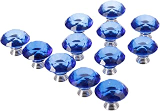 12pcs 40mm Diamond Crystal Glass Knob for Closet Cabinet Drawer Kitchen Dresser Cupboard Wardrobe,3 Size Screws,Blue