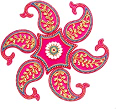 PRAHLL Mango Shape Reusable Acrylic Rangoli for Floor and Wall Decoration (Pink, Set of 7 Pieces)