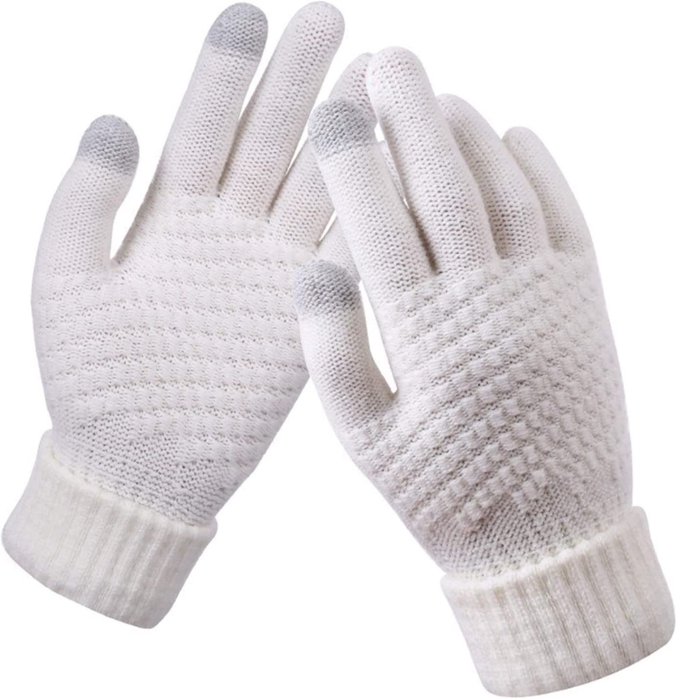 FSJIANGYUE Winter Gloves 2021 New Women's Cashmere Wool Knitted Gloves Winter Warm Thick Touch Screen Gloves (Color : White) (Color : Pink, Size : -)