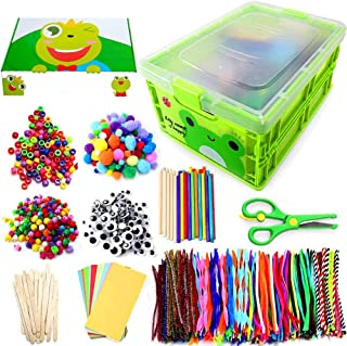 Kids Arts & Crafts Supplies Kit for Age 4 5 6 7 8 9 year olds with Storage Box. (Froggy Green)