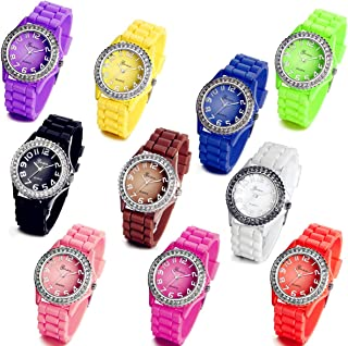 Lancardo Wholesale Lots of 10 Silicone Rubber Gel Jelly Women Wrist Watches with Gift Bag