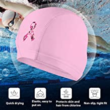 Angkella Pink Camouflage Breast Cancer Swim Cap, High Elasticity Swimming Cap Keeps Hair Clean Breathable Fit Both Long Hair Short Hair