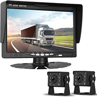 HD 720P Dual Backup Cameras and 7 Monitor System Kit for Bus/Trucks/Trailer/RVs/Campers Night Vision IP68 Waterpoof with ON/Off Switch Guide Lines Normal/Mirrored Pictures Optional