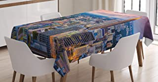 Dana Cronin Wrinkle-Resistant Dining Table Cover Atlanta City Georgia Town Tablecloth Suitable for Dining Room Kitchen Rectangular Table Cover Rectangle Table Cloth W54 x L72