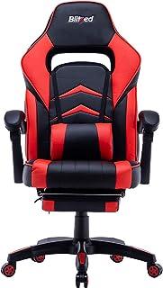 آلية إمالة كرسي الألعاب بتصميم مريح 2282 مع دعم قطني ومسند أمامي قابل للتعديل، مسند ظهر ارتفاع المقعد (بودجيت أليسوم_أحمر)